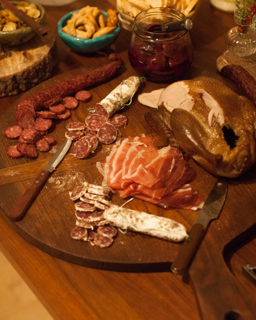 Locally pastured and cured meats from Jacüterie in Ancramdale and smoked duck and pheasant sausage from Quattro's Farm in Pleasant Valley