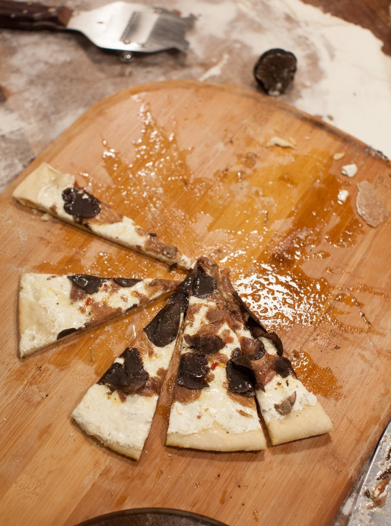 Pizzas topped with homemade fresh mozzarella and a selection of truffles, from by our close friend Rudy Accornero – of Savini Tartufi in Tuscany.